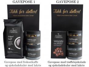 Gaveposer med kaffe og sjokolade